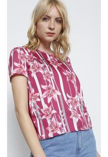 Camiseta Com Recorte Acetinado - Pink   Branca - Grigris 3666d5ca36