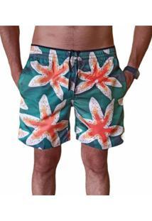 Bermuda Short Moda Praia Relaxado Estampa Estrela Do Mar Verde E Laranja - Verde - Masculino - Poliã©Ster - Dafiti