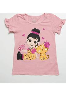 Blusa Infantil Flamê Estampada Manga Curta Marisa