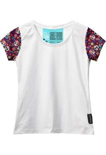 Camiseta Baby Look Feminina Algodão Estampa Caveira Moda - Feminino-Branco