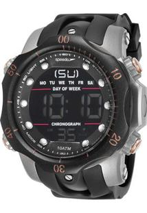 Relógio Digital De Borracha 11005G0Evnp5- Preto & Prateaspeedo