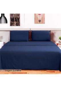 Jogo De Cama Loft King Size- Azul Marinho- 4Pã§S-Camesa