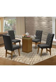 Mesa Para Sala De Jantar Saint Louis Com 4 Cadeiras – Dobuê Movelaria - Mell / Chumbo