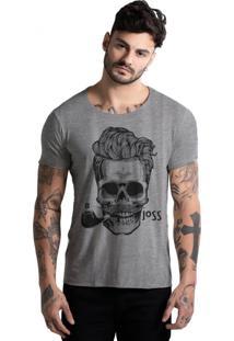 Camiseta Corte A Fio Joss Caveira Charuto Mescla