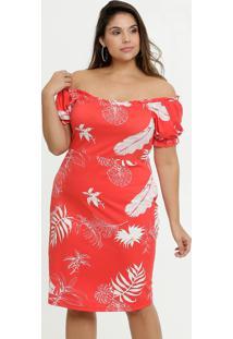 Vestido Feminino Ombro A Ombro Folhas Plus Size Marisa