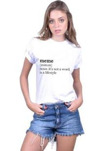 Camiseta Joss Feminina Estampada Meme - Feminino-Branco