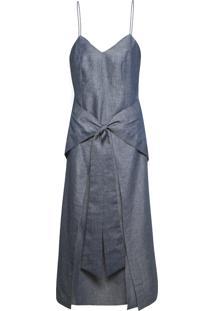 Vestido Mídi Amarração - Azul