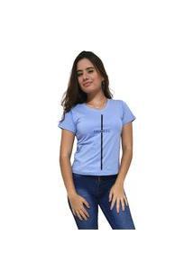 Camiseta Feminina Gola V Cellos Stripe Premium Azul Claro
