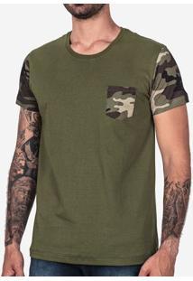 Camiseta Verde Manga Militar 101733