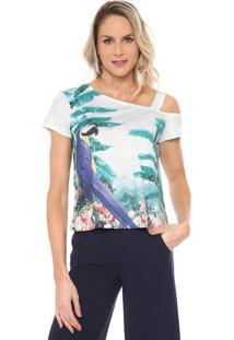 Camiseta Lança Perfume Recortes Verde/Azul