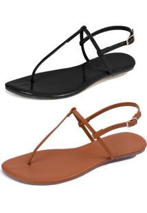 Kit 2 Pares Rasteiras Flat Simples Mercedita Shoes Verniz Preto E Napa Caramelo - Preto - Feminino - Dafiti