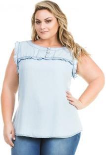 4dcc1430b25eed Regata Confidencial Extra Plus Size Jeans Com Babado Feminina -  Feminino-Azul Claro