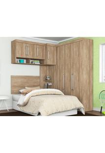 Dormitório De Solteiro 7 Portas Modena Nogal Touch – Lc Móveis