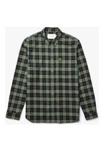 Lacoste - Camisa Masculina Manga Longa - Ch2565 - Preto / Verde Militar, 37 Preto