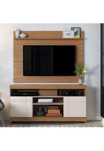 Rack Com Painel Home Para Tv Até 55 Polegadas 2 Portas Yara Maia Colibri Móveis Natural Real/Off White