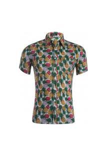 Camisa Masculina Estampada Abacaxi - Amarelo Verde E Vermelho