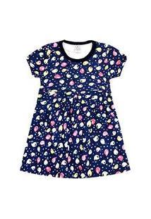 Vestido Infantil Manga Curta Cotton Azul Marinho Passarinhos (4/6/8) - Kappes - Tamanho 4 - Azul Marinho