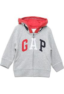 Jaqueta Moletom Infantil Gap Com Capuz Masculina - Masculino-Cinza