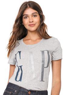 Camiseta Gap Logo Glitter Cinza - Kanui