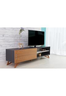 Rack Tv Preto Moderno Vintage Retrô Com Porta De Correr Freijó Freddie - 180X43,6X48,5 Cm