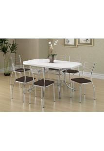 Conjunto Mesa 1507 Branca Cromada Com 6 Cadeiras 1700 Cacau Carraro