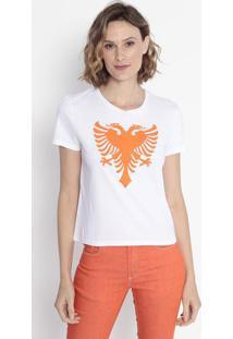 Camiseta Logo - Branca & Laranjacavalera