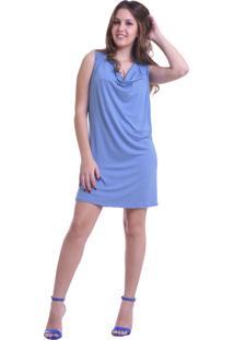 Vestido Solto Unyforme Decote Cascata Azul