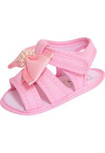 Sandália Para Bebê Lugui Menina Com Laço E Pérolas Rosa