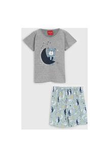 Pijama Tricae Curto Infantil Urso Cinza/Verde