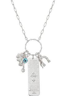 Colar Banhado A Ródio Com Amuletos & Zircônia- Prateado Carolina Alcaide