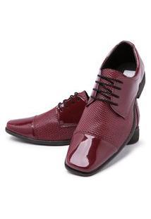 Sapato Social Cadarço Mr Shoes Verniz Vermelho