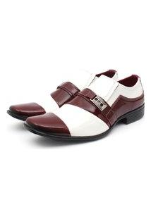Sapato Social Leve Renovally Branco E Vinho