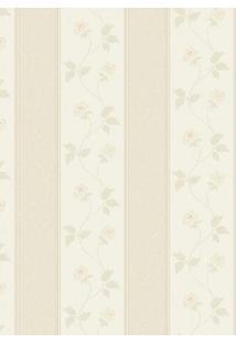 Papel De Parede Floral- Bege & Bege Claro- 1000X52Cmshark Metais