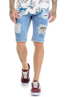 Bermuda Jeans Premium Destroyed Slim Fit Azul Aço Offert