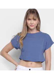 Camiseta Morena Rosa Cropped Básica Lisa Feminina - Feminino