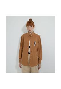 Camisa Alongada Em Tricoline Com Estampa Frajola   Looney Tunes   Marrom   Pp