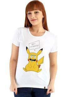 Baby Look Ouroboros Manga Curta Pikachu Rick - Feminino-Branco