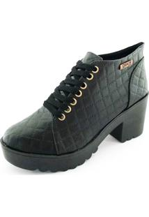 Bota Coturno Quality Shoes Feminina Matelassê Preto 37