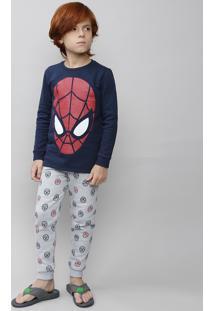 Pijama Infantil Homem Aranha Em Moletom Manga Longa Azul Marinho