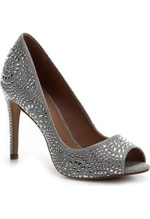 Peep Toe Shoestock Noiva Lurex Cristais - Feminino-Prata