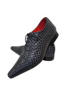 Sapato Masculino Italiano Oxford Em Couro Art Sapatos Cinza Xadrez