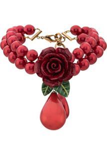 Dolce & Gabbana Rose And Drop Pendant Necklace - Vermelho