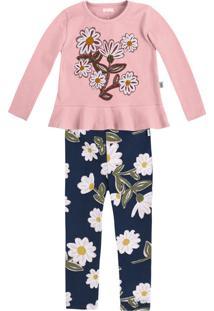 Conjunto Infantil Bebê Menina Com Blusa Mangas Longas E Legging Puc