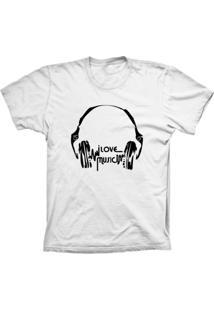 Camiseta Baby Look Lu Geek Love Music Branco