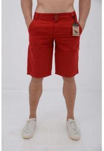 Bermuda Casual Masculina Sarja - Masculino-Vermelho