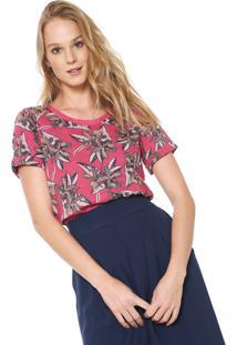 Camiseta Maria Filó Estampada Rosa