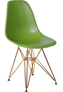 Cadeira Eames Eiffel Com Base Metal Verde