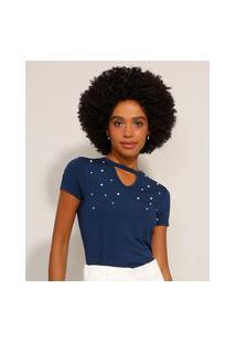 Camiseta Feminina Básica Choker Com Pérolas Manga Curta Azul Marinho