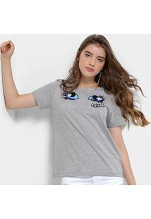 Camiseta Infantil Colcci Fun Bordada Feminina - Feminino-Mescla