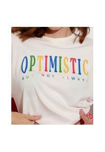 "T-Shirt De Algodão ""Optimistic"" Manga Curta Decote Redondo Mindset Off White"